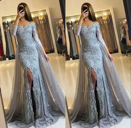 Wholesale Long Sleeve Sparkly Dresses - 2018 African Mermaid Prom Dresses With Detachable Train Long Sleeves V Neck Appliques Sparkly Formal Evening Gowns Formal Dresses Custom