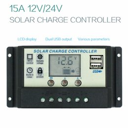 Wholesale Solar Charge Controller Usb - control switch Solar Charge Controller 1224V15A Solar Panel Charge Regulator Switching Controller With Universal USB 5V Charging LCD Display