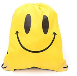 Bolso para hombre de dibujos animados online-Emoji Mochila con cordón Mochila Smile Mochila con cordón Emoji Bolsas con cordón para mujer Hombre Niños Dibujos animados Unisex Emoji bolsa KKA4311