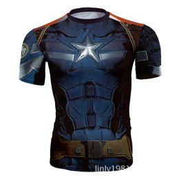 Wholesale Hot Superhero Costumes - 2018 Hot Sale Mens Casual Sports T-Shirt Marvel Superhero Costume Top Tee Jersey Cycling Shirt Size S-XXL