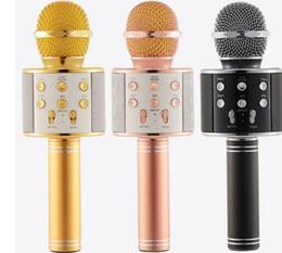 Registros de teléfono celular gratis online-WS858 Bluetooth micrófono inalámbrico de alta fidelidad reproductor de karaoke mágico MIC altavoz de grabación de música para iphone android teléfono celular tabletas PC envío gratis