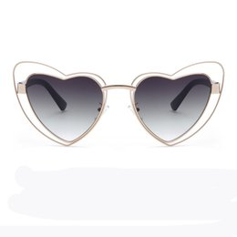 Wholesale Heart Shaped Glasses Red - Love heart sunglasses women cat eye vintage Christmas gift black pink red heart shape sun glasses for women uv400