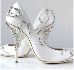 Wholesale Womens Hot Pink Tops - Ralph & Russo Bridal Shoes Real leather Top Hot New 2018 Ornate Filigree Leaf Womens Dress Evening Party Pumps Girl Sexy Euro 42
