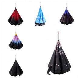 Wholesale Car Umbrella Cover - LED Inverted Umbrella Travel Folding Cars Warning Flashlight Rain Emergency SOS LED Umbrella Inverted With Umbrella Cover Case