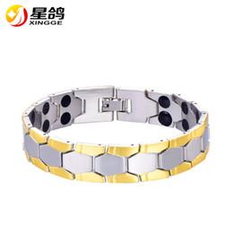 Wholesale Health Balance Bracelet - Silver&Gold-Color Men Chain Bracelet Jewelry Energy Health Magnetic Bracelets for Man Charm Balance Wristband Drop Shipping Wholesale
