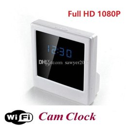 ip tables Promo Codes - Wireless WIFI Clock P2P IP camera HD 1080P Digital Mirror Clock DVR camera Video Recorder Table Clock Home Security camera