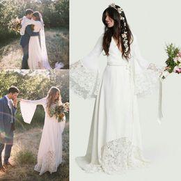 Wholesale Ivory Bridal Flower - Beach Wedding Dresses 2018 For Bride Boho Bohemian Long Bell Sleeve Lace Chiffon Flower Bridal Gowns Plus Size Hippie Wedding Dress Custom