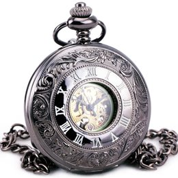 Wholesale Vintage Skeleton Automatic Watch - Men Unisex Steampunk Retro Vintage Antique Automatic Mechanical Pocket Watch Skeleton Roman Dial With Chain Clock + GIFT BOX
