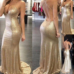 Wholesale Gown Dreses - Sexy Cheap Prom Dreses Long Party Gowns Backless Halter Mermaid Sequin Low V-Neck Women Evening Dresses 2018