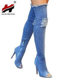 f3ccba869e552 2017 Hot Women Boots verano otoño peep toe Over The Knee Boots calidad Alta  elástico jeans moda tacones más tamaño elástico rodilla botas altas mujeres  ...