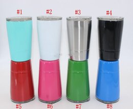 Wholesale Stainless Steel Mug Cup - 8.5oz Wine Glasses Stainless Steel Tumbler 8.5oz Cups Travel Vehicle Beer Mugs Non-Vacuum Mugs with Straws&lids 2018 Hot Sale