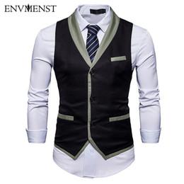Wholesale Men S Gray Dress Vests - Envmenst 2018 Men Suit Vest Gilet Homme Costume New Slim Fit Men Waistcoat Leisure Business Dress Vests
