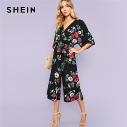 d974201471 floral summer jumpsuits Canada - SHEIN Multicolor Vacation Boho Bohemian  Beach Split Side Floral Culotte Mid