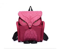 Wholesale patchwork owl backpack - New arrival preppy style PU + nylon backpack carton patchwork owl school bag korean style female bag 4 colors
