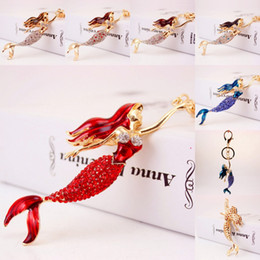 Wholesale Jewelry Mermaid Ring - Hot Sale 6 Styles Mermaid Keychains Crystal Key Ring Key Chains for Christmas Gift Jewelry Pendant Keychains Women Gift Free DHL G6Q