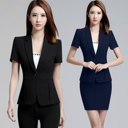 Wholesale Short Sleeve Blazers - 2018 Office Pant Suit Women Short Sleeve Suit Jacket Blazer 2 Pieces Business Slim Fitted Suits The Feminine ow0317