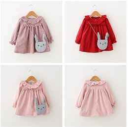 Wholesale Round Neck Long Sleeve Dresses - Baby Fashion Dress With Rabbit Bags Fuzz Balls Autumn Winter Cotton Flannelette Round Neck Long Sleeve Corduroy Thickening Baby Girls Dresse