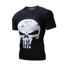 Wholesale Crossfit Clothing - Compression T-Shirt 3D Punisher Skull MMA Workout Crossfit T Shirt Fitness Tights Casual Shirts Brand Clothing Tee Shirt