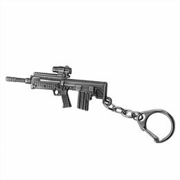 Maschinengewehr schlüssel online-Trendy Imitation Gun Keychain Imitierte Waffe Maschinengewehre Schlüsselring Schwarz AUG Metall Schlüsselanhänger Schmuck Unisex Geschenke Großhandel