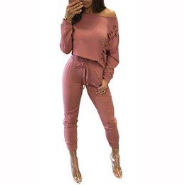 Wholesale Fashionable Women S Suits - Bambooboy 2017 Fashionable 2 Piece Set Women Cut Out Crop Top And Long Pants Suit ladies Sexy Leisure Two Piece TracksuitZL755