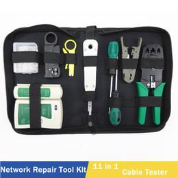 Wholesale cable repair kit - 11 in 1 Computer Network Repair Tool Kit LAN Cable Tester Wire Cutter Screwdriver Pliers Crimping Maintenance Tool Set Bag