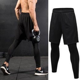 Wholesale spandex short leggings - Fake Two Piece Compression Pants Men Shorts And Leggings Sportswear Gym Fitness Tight Sports Trousers Quick Dry Men's Leggings