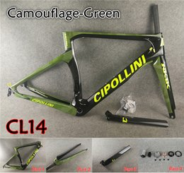 Wholesale carbon road bike frame xs - Free shipping T1000 Camouflage Green Cipollini NK1K carbon road frames MCipollini with BB68 BB30 3K 1K Matte Glossy XXS-XS-S-M-L