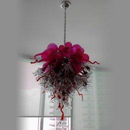 Lampadario a LED di lusso unico progettato in vetro rosso 100% fatto a mano in vetro rosso soffiato con decorazioni di arte moderna Lampadario a LED per la decorazione della camera da letto del soggiorno da