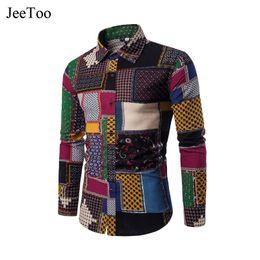 Wholesale Mens Fashion Shirts Big Size - New Clothing 2017 Fashion Vintage Print Plaid Shirt Male Dress Shirts Slim Fit Turn-Down Men Long Sleeve Mens Shirt Big Sizes