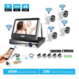 "Wholesale Security System 4ch Wifi - Wireless Surveillance System Network 10.1"" LCD Monitor NVR Recorder Wifi Kit 4CH 960P HD Video Inputs Security Camera"