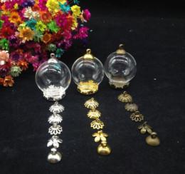 Wholesale Wholesale Crown Bottle Caps - 100pcss 25*15mm Transparent glass globe crown base beads cap glass vial pendant bottle dome terrarium vase diy jewelry accessory
