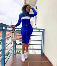 f17b2f7def5 2019 casual front reißverschluss kleider Frauen-Sommer-langes Kleid-Designer  bodycon lange Röcke