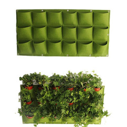 Wholesale grow large - 18 Pocket Flower Pots Planter On Wall Hanging Vertical Felt Gardening Plant Decor Green Field Grow Container Bags OOA4733