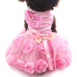 Wholesale female jacket sizes - Rosette&Bow Dog Pet Princess Dress Tutu Puppy Shirt Skirt Spring Summer Outfit Clothes 2 Colours 6 sizes