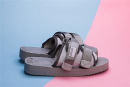 Wholesale Leather Nylon Heels - Nice Quality SUICOKE DEPA-V2   OG 22V2 GRAY NYLON TAPES RUBBER 8 SANDALS Leather Sandals Slides SUICOKE KISEEOK-044V With Box