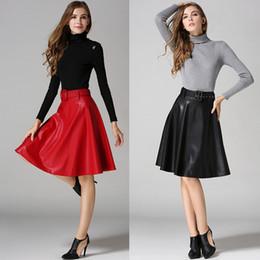 Wholesale Womens Elegant Skirts - Red Gray Black Leather Skirt Autumn Winter High Waist A Line Skirts Womens Elegant Midi Skirt