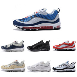 competitive price 9267a 1b0da with box Nike Air Max 98 SUPREME Airmax OG 98 air 98 neue Ankunft Mode OG  98 Gundam Laufschuhe für hohe Qualität Mens 98s weiß blau rot schwarz  Outdoor ...