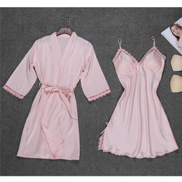 Дамские зимние пижамы онлайн-Winter Women Ladies Soft Satin Silk Bathrobe Nightgown Sets Kimono Pajamas Lingerie Nightdress Sleepwear chemise de nuit femme