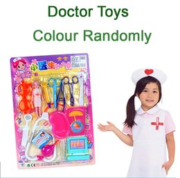 Wholesale doctor play set toys - SST* 15pcs set Child toy artificial armarium Doctor toys Kid's medicine cabinet Children echometer Toy Baby Gift Pretend Play +