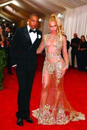 encontrar bolas Desconto Sheer Beaded Evening Dresses Beyonce Met Bola Red Carpet Despido Celebridade Prom Dresses See Through Vestido Formal Sweep Trem Backless HY948