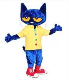 Wholesale Cat Mascots - Pete the Cat Adult Size Halloween Cartoon Mascot Costume Fancy Dress