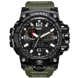 Wholesale camel time - Digital Watch Men Dual Display Round Dial Military Army Sport Watch Water Resistant Date Calendar LED Electronics Watches