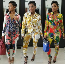roupas casuais femininas Desconto Sexy Suor Ternos Conjuntos de Duas Peças Fato de Treino Mulheres Casual Manga Longa Outono Impressão T-shirt Tops e Comprimento Total Calças 2 Pcs Outfits