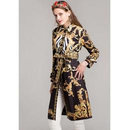 pattini lunghi delle donne Sconti Donne 2018 Autunno New Runway Vintage stampato floreale Slim cappotti lunghi Ladies Monopetto Trench Capispalla JC2453