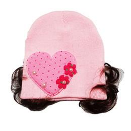 cappello di capelli del filato Sconti Inverno Berretto per capelli Cappello per parrucca per maglieria Filato di lana Love Heart Hair Band Headwear Wig Hat 32-48cm