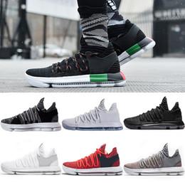 Wholesale Men S Kd Shoes - 2018 Basketball shoes Mens KD 10 Durant Elite Sports Sneakers Triple s Black White BHM Oreo Anniversary Red Blue Multi Color US 7-12