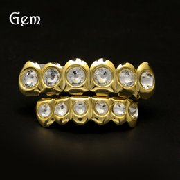 Wholesale Gold Teeth Styles - New Style Hip Hop Bling Bling Rhinestone TeethGrillz Gold Silver Color Top Bottom Grills Set Silicone Christmas Vampire Teeth#HOP