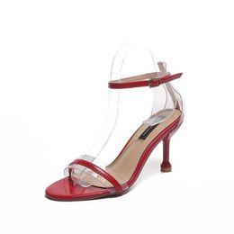 ff1ac233452afe High Heel Beautiful Sandals 2018 Summer New Pattern Korean One Buckle Bring  Toe Women Red Black Pink Beige Shoes 35-39 Code Best