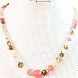 Wholesale Jade Stone Faceted Beads - Naural cherry quartz stone 6-14mm faceted round loose beads diy necklace 18 inch