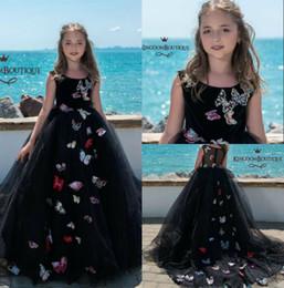 vestidos de meninas de flor china Desconto O florista preto bonito da praia veste o pescoço da jóia Vestidos de desfile de niñas Do vestido da representação histórica das meninas do laço da borboleta de China